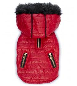 Chaleco inflable de ciré para perros. Impermeable para días de lluvia, capucha desmontable. En color rojo. Indumentaria y moda c