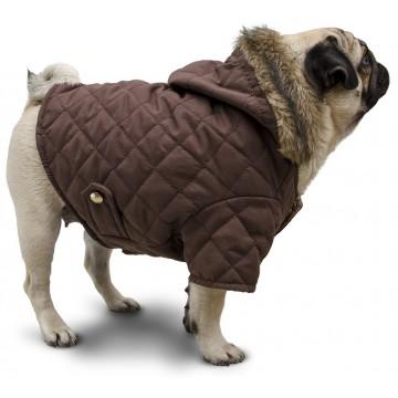 campera matelasse marrón con capucha piel abrigo ropa para perros pug indumentaria canina Dogton