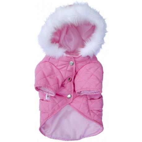 campera matelasse rosa con capucha piel abrigo ropa para perros indumentaria canina Dogston
