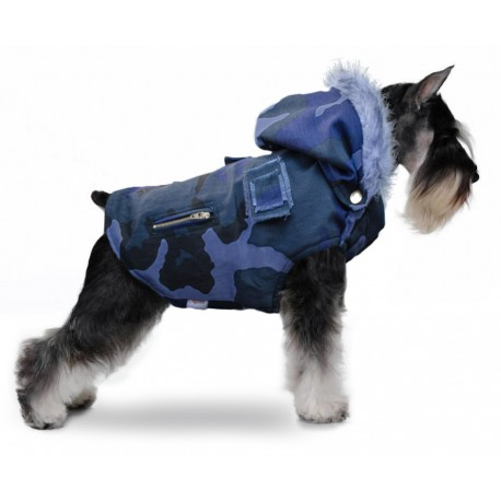 Chaleco camuflado azul schnauzer ropa militar para perros indumentaria canina Dogston