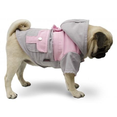 Campera gabardina gris y rosa ropa para perros pug indumentaria canina Dogston