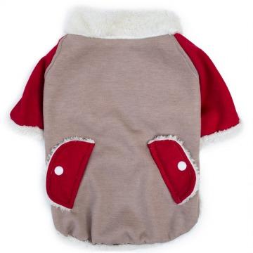Fur Coat abrigo Beige y Rojo con piel