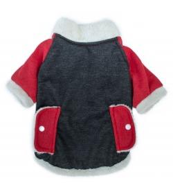 Fur Coat Gris oscuro y Rojo abrigo con piel para perros