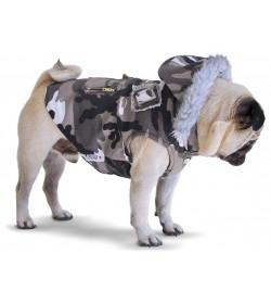 Chaleco camuflado blanco y negro ropa militar para perros pug army indumentaria canina Dogston